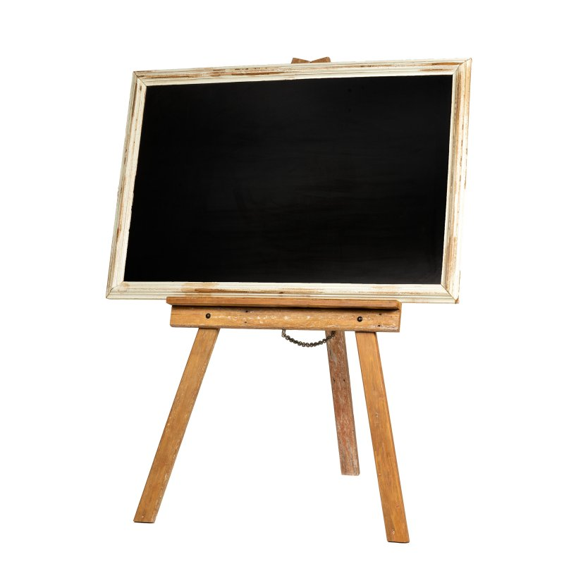 Black board with white washed frame