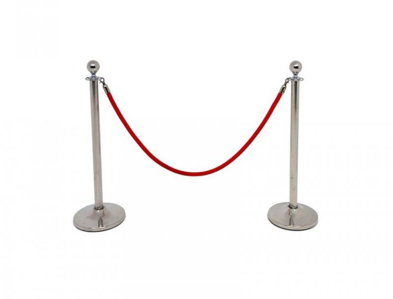 Bollard and red rope